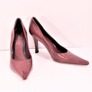 Cathy Jean Wine leather pointed toe pump